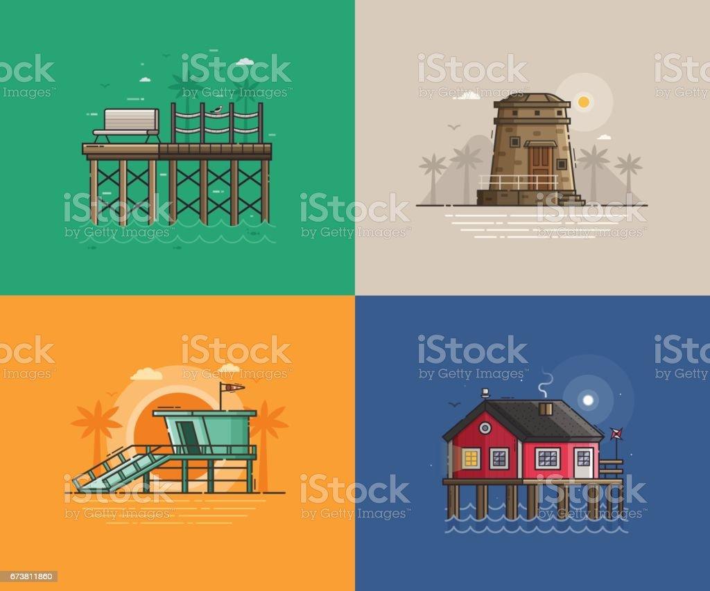 Summer Seaside Backgrounds vector art illustration