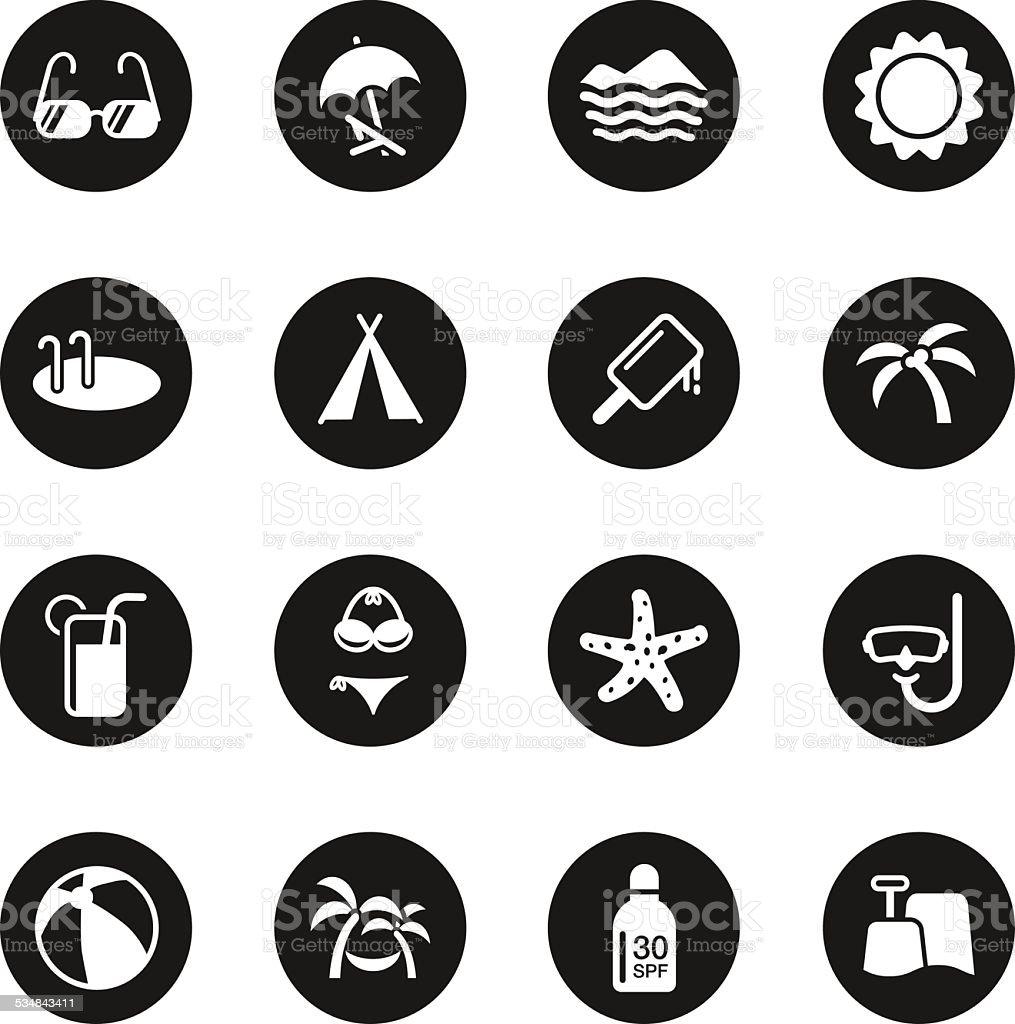 Summer Season Icons - Black Circle Series vector art illustration