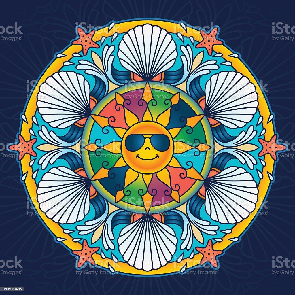 Summer Season Mandala vector art illustration