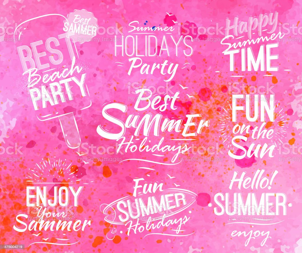 Summer set in retro style pink watercolor background. vector art illustration
