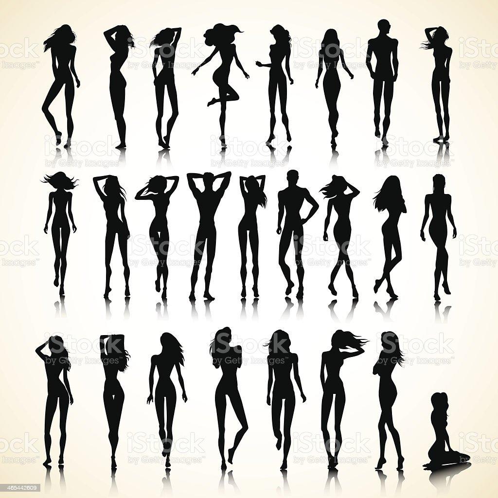Summer set of silhouettes vector art illustration