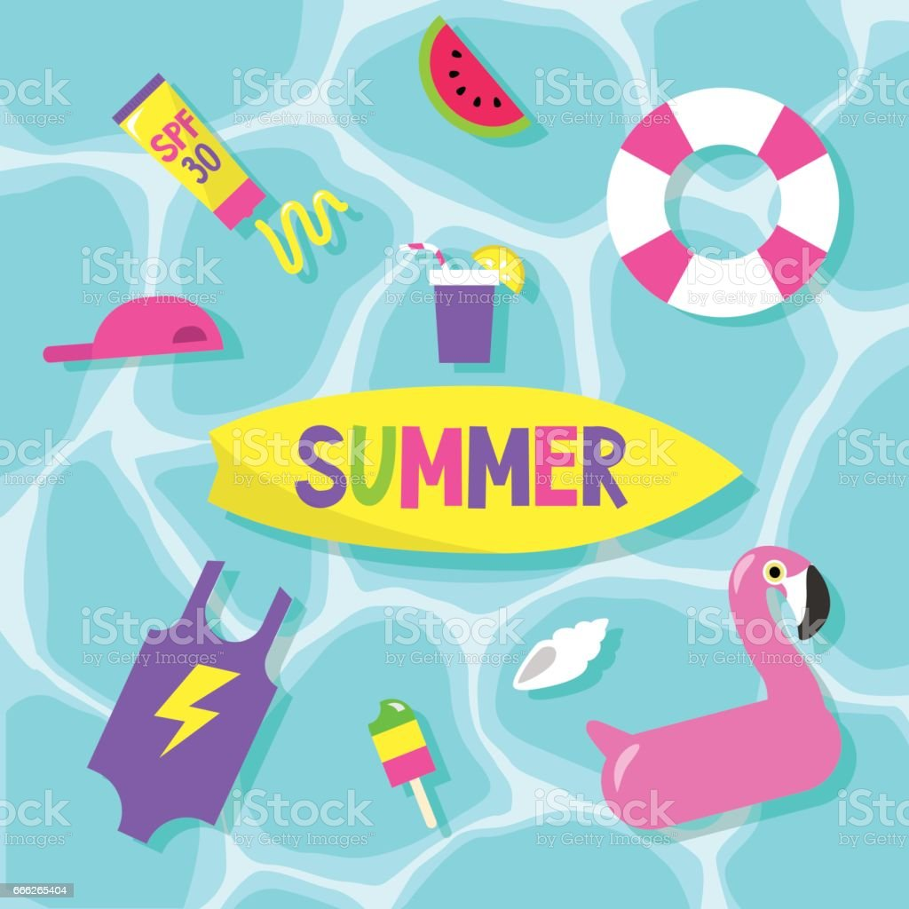 Summer set: pool party / Flat editable vector clip art vector art illustration