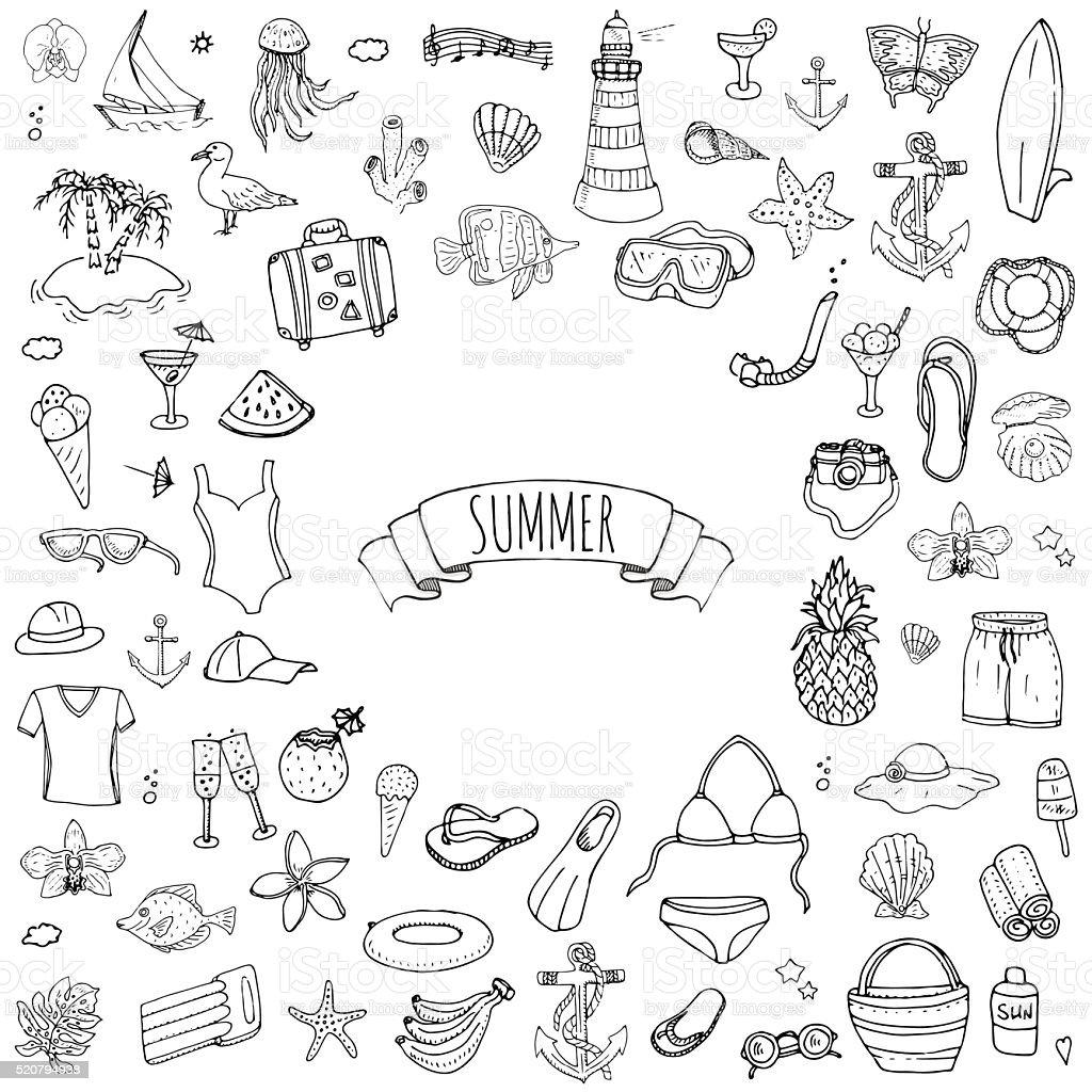 Summer set vector art illustration