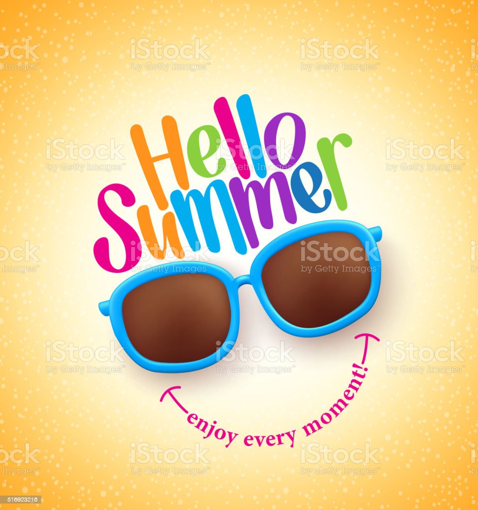 Summer Shades with Hello Summer Happy Colorful Concept vector art illustration