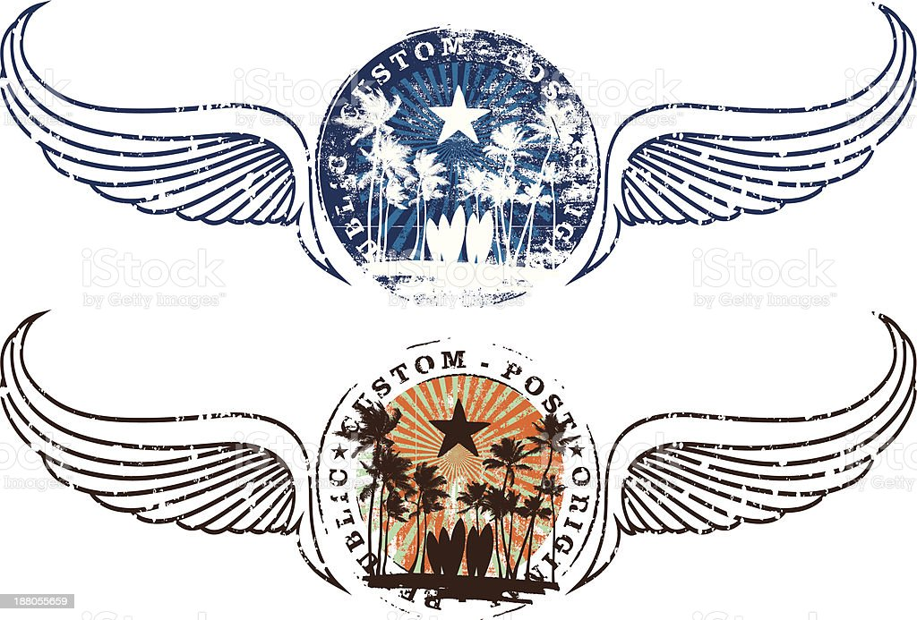 summer shields with stamp mark and wings in two colors vector art illustration