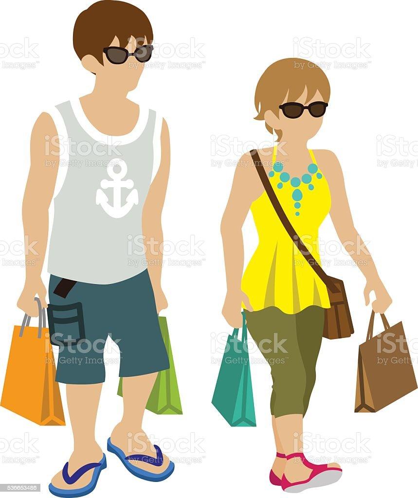 Summer Shopping Couple- wearing sunglasses vector art illustration