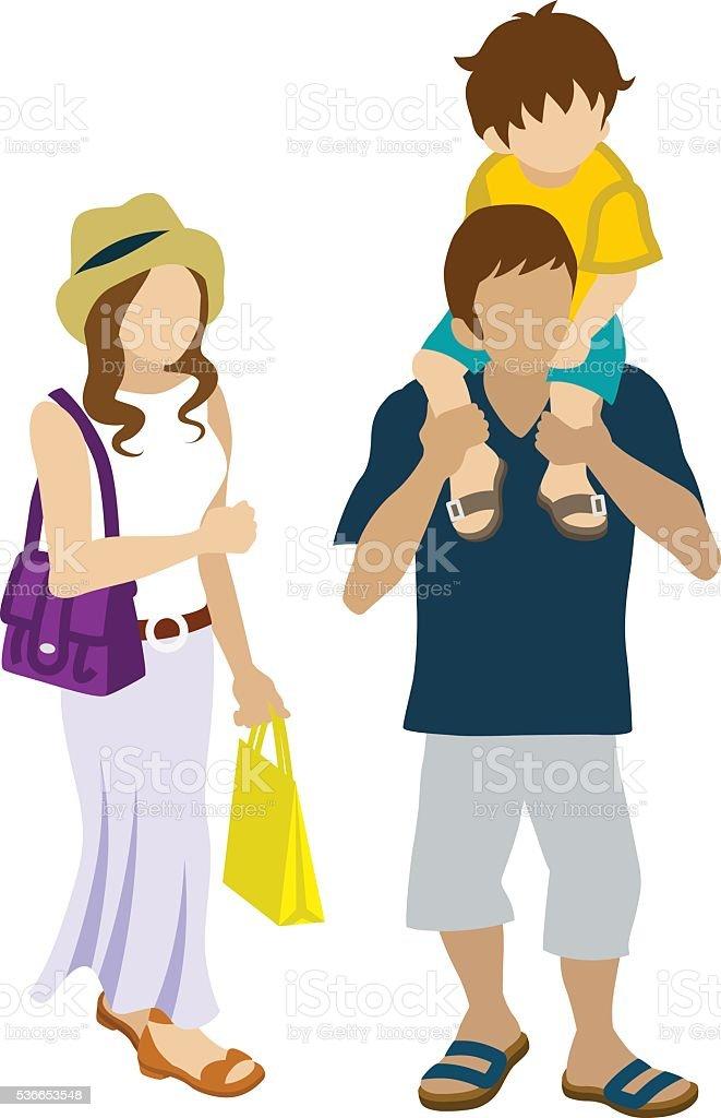 Summer Shopping family - Piggyback vector art illustration