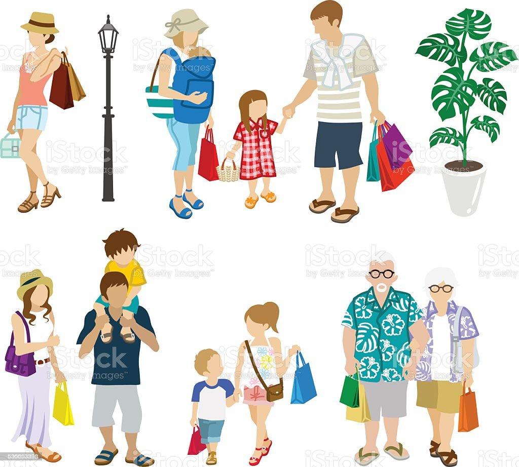 Summer Shopping people set -Multi generation vector art illustration