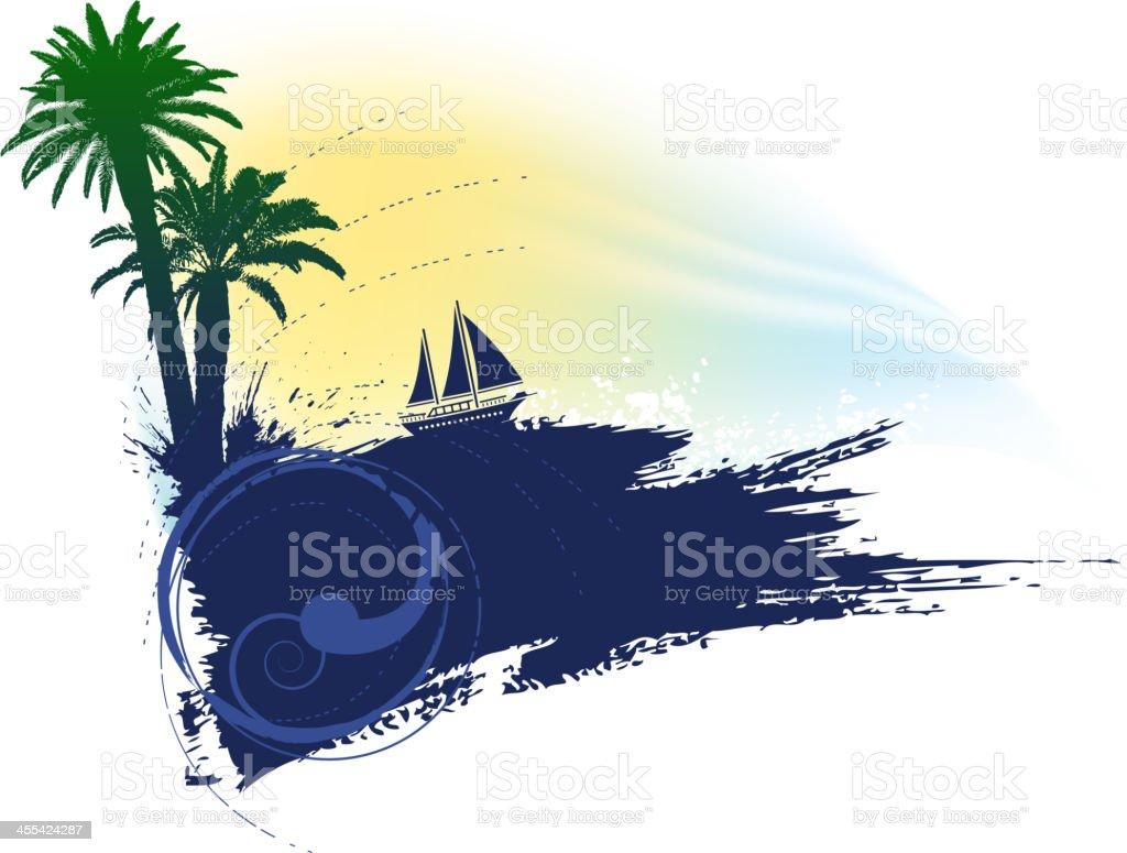 summer silhouette vector art illustration