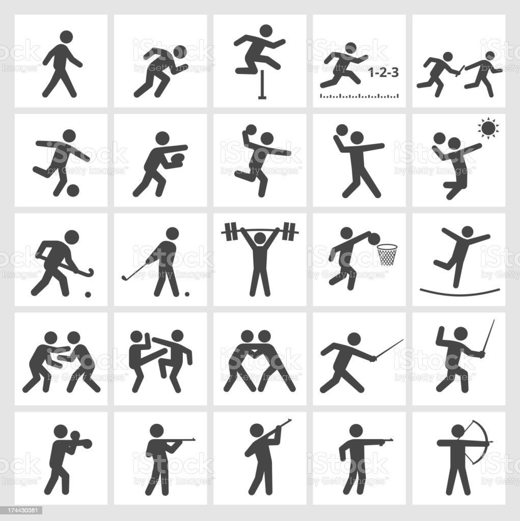 Summer Sports Black & White royalty free vector icon set vector art illustration