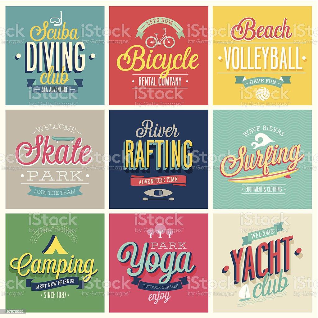 Summer sports set vector art illustration