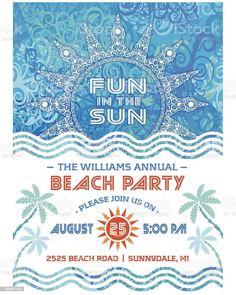 Summer Sun Beach Party Invitation Blue vector art illustration