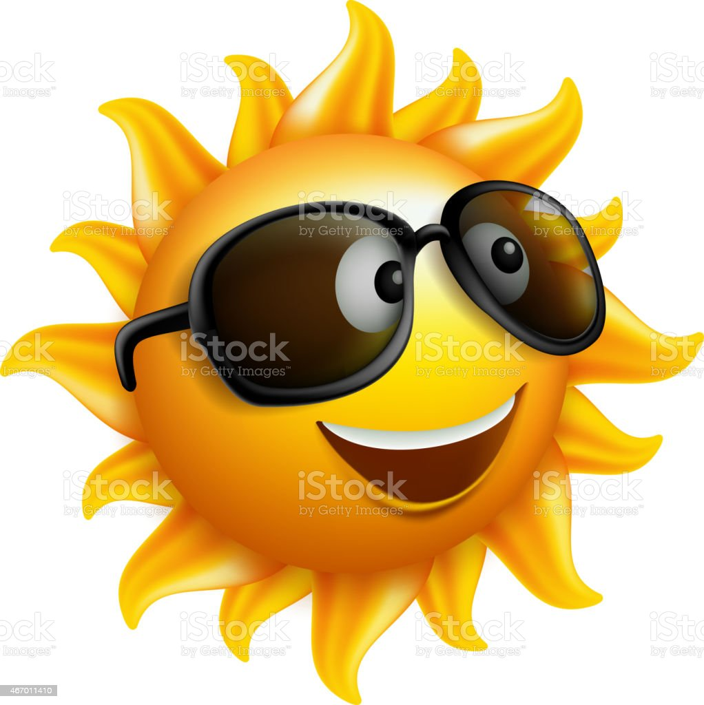 Summer Sun Face with sunglass and Happy Smile vector art illustration