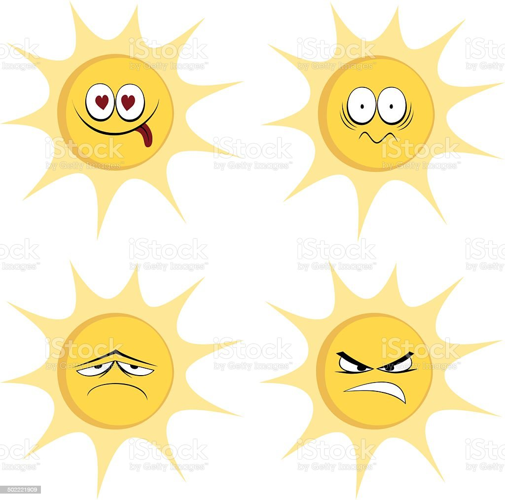 Summer sun mascots vector art illustration
