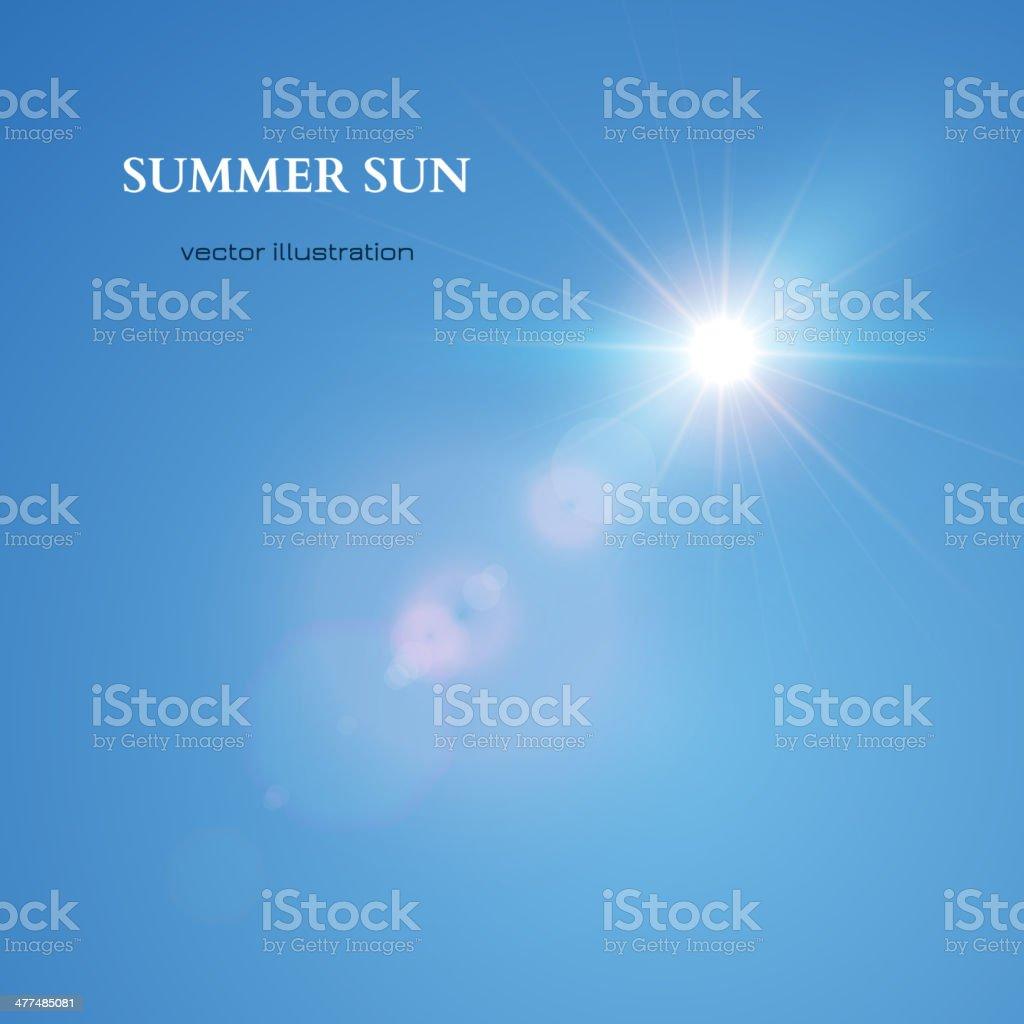 Summer Sun. Sky Background. Vector vector art illustration