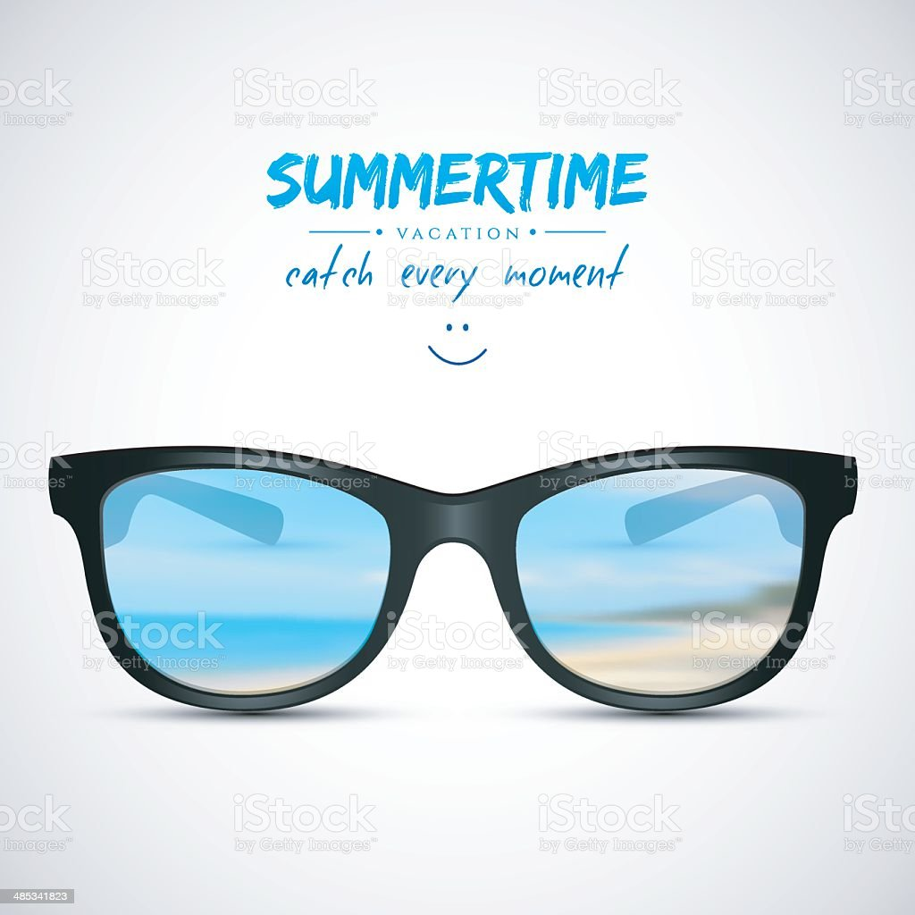 Summer sunglasses with beach reflection vector art illustration