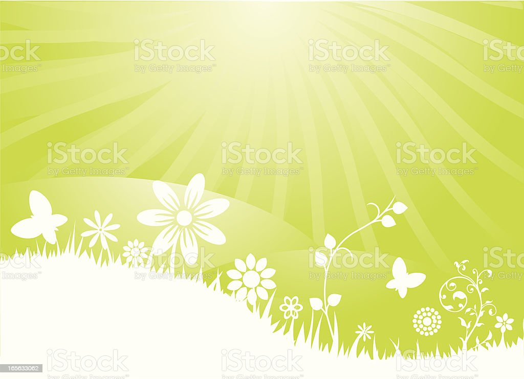Summer Sunshine with hills, flowers and grass royalty-free stock vector art
