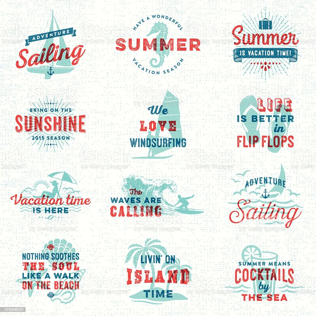 Summer, Surfing, Sailing, Beach Signs and Badges vector art illustration
