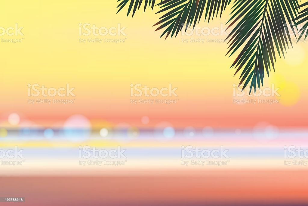 Summer time at the beach evening vector art illustration