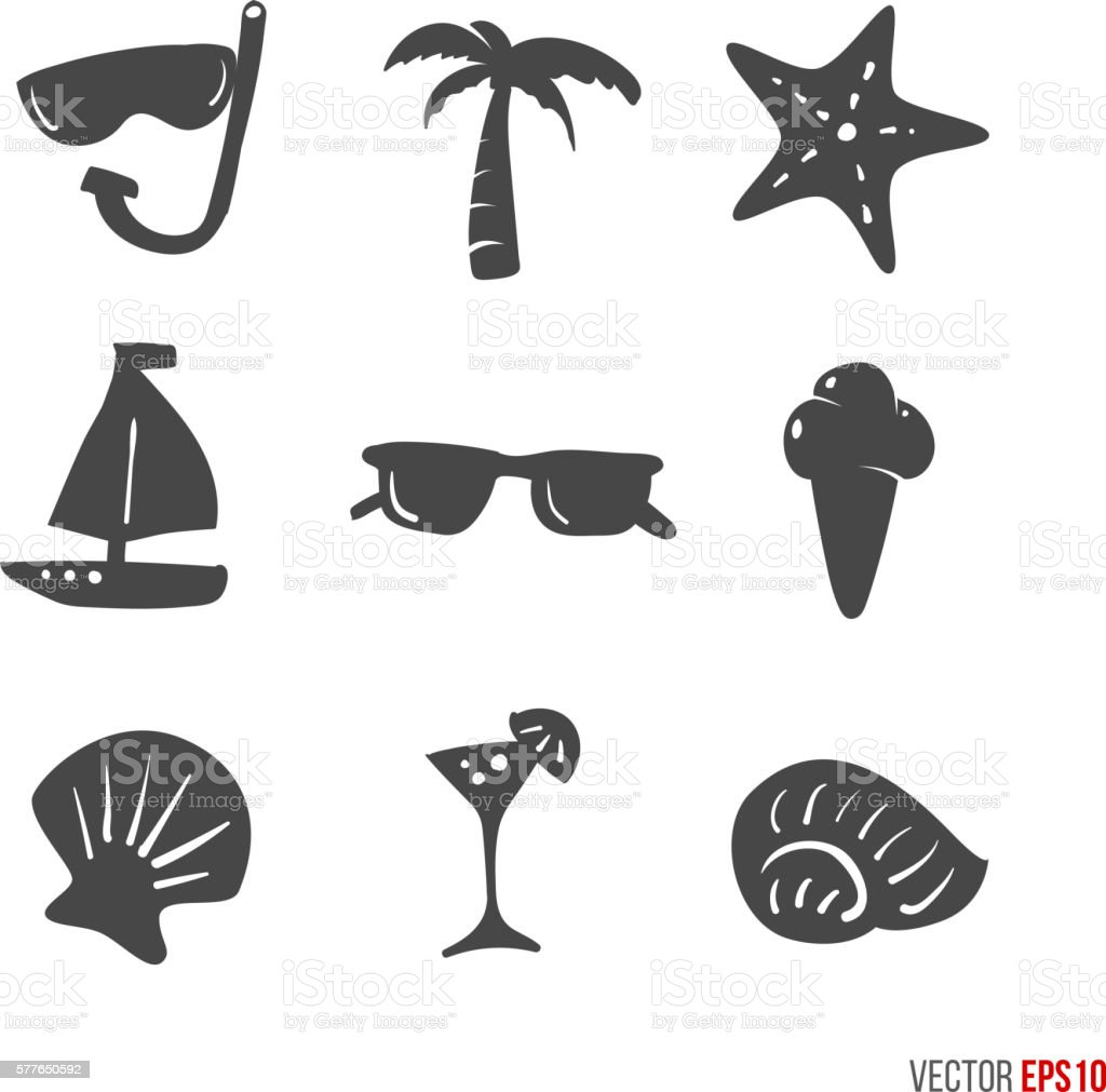 Summer time design icons elements in hand drawn style - vector art illustration