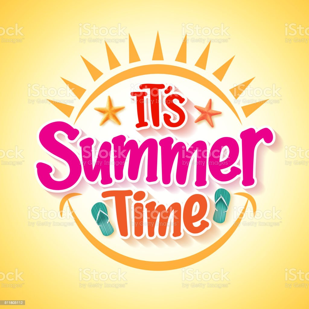 Summer Time Poster Design with Happy and Fun Concept vector art illustration