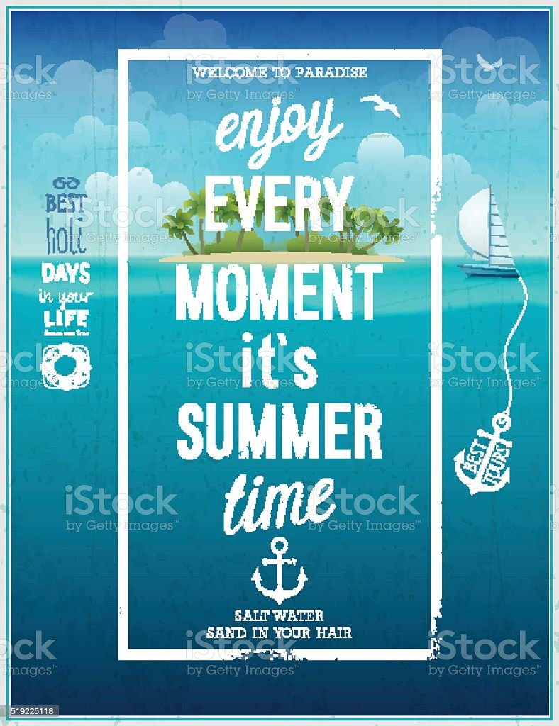 Summer time poster with sea background. vector art illustration