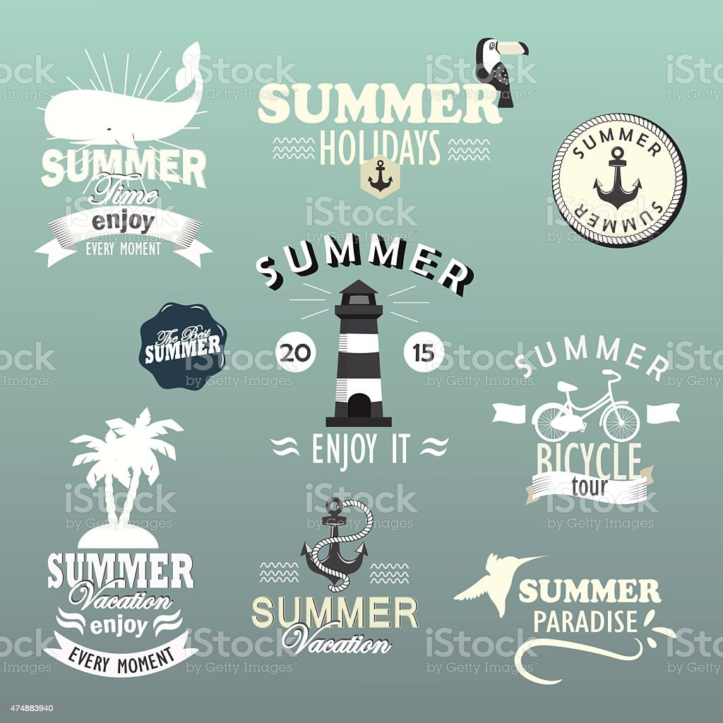 Summer Time retro style calligraphic labels. vector art illustration