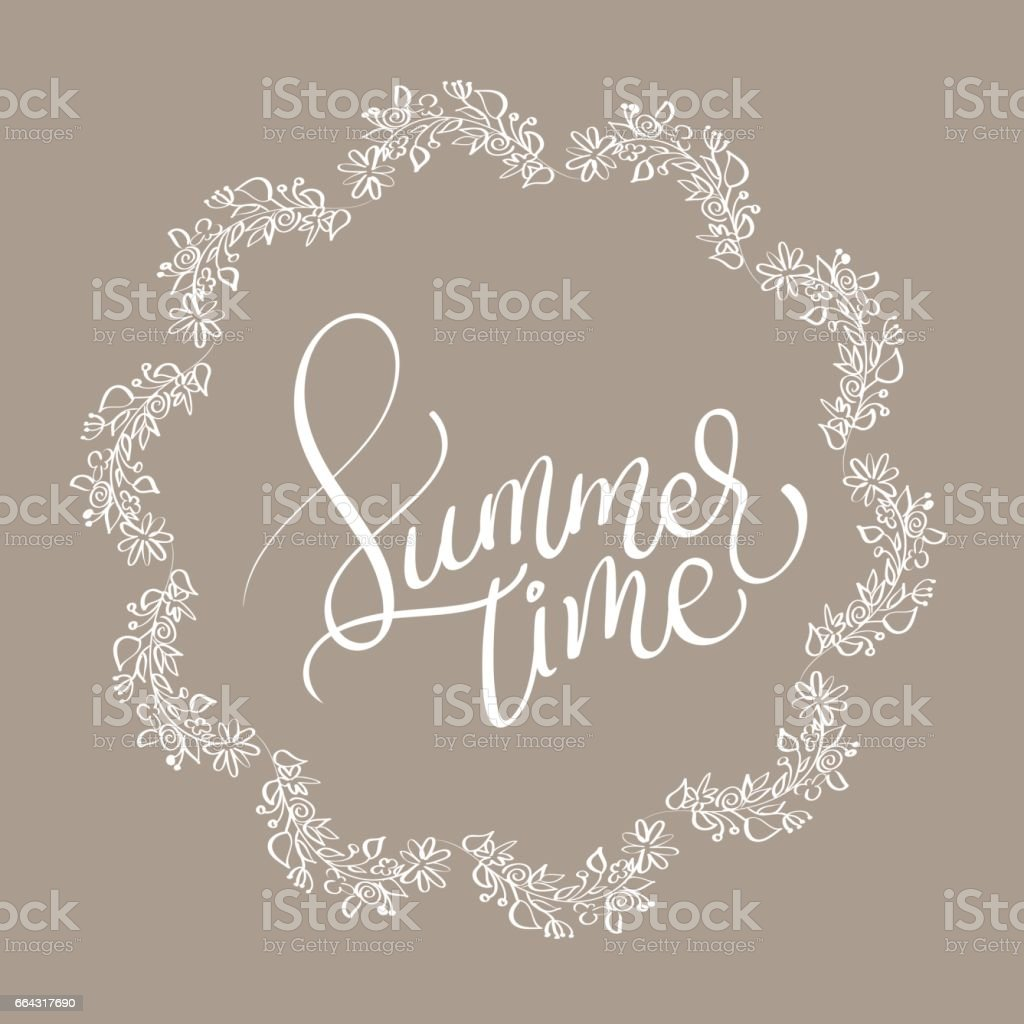 Summer time text in vingage round frame on brown background. Hand drawn Calligraphy lettering Vector illustration EPS10 vector art illustration