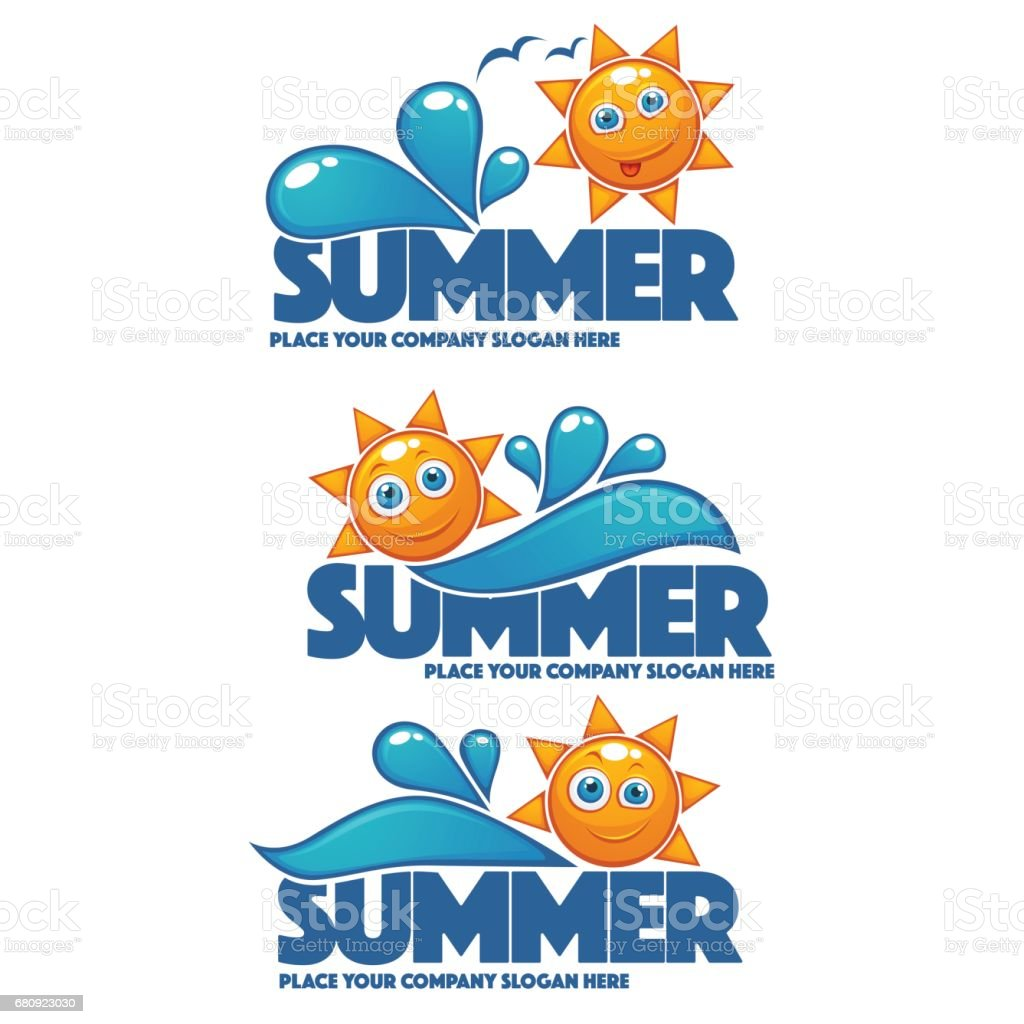 summer time, vector collection of water and sun stickers vector art illustration