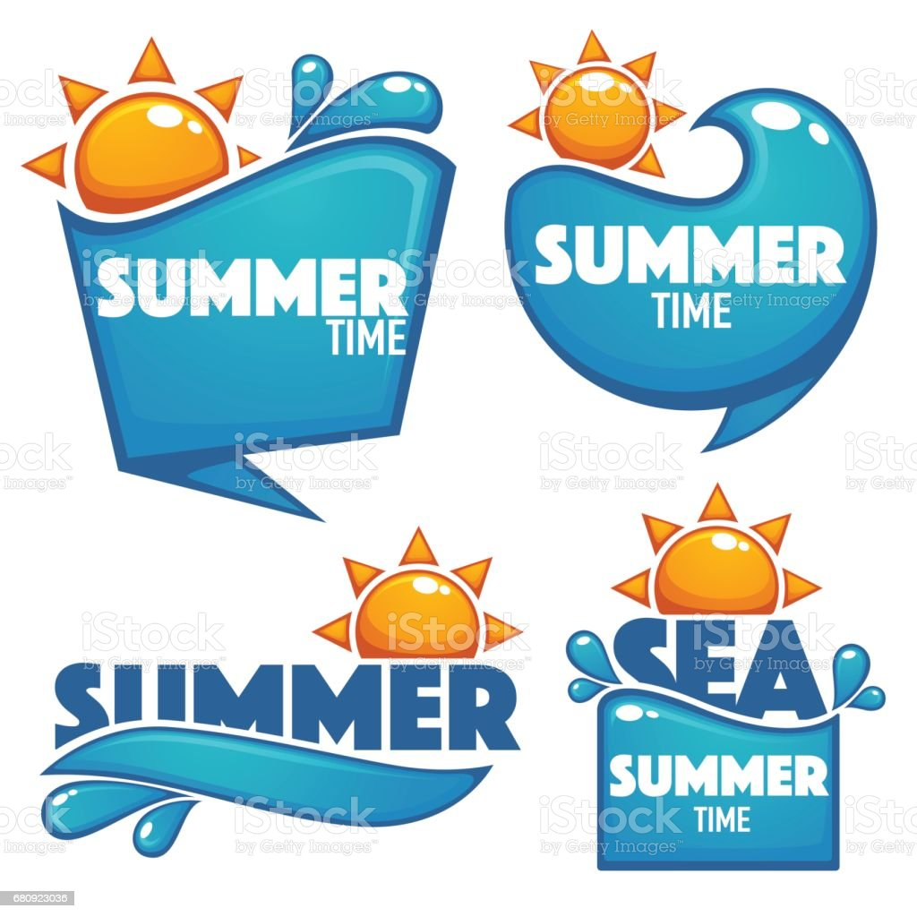 summer time, vector collection of water and sun stickerssummer time, vector collection of water and sun stickers vector art illustration