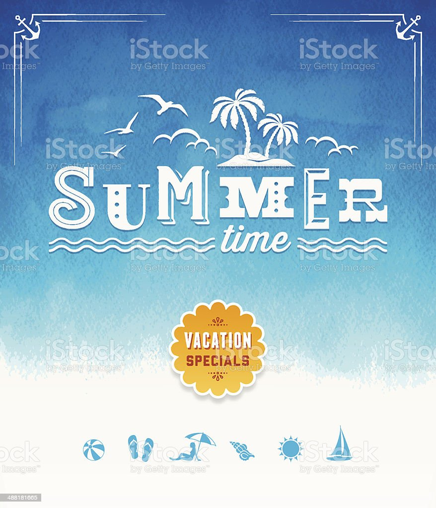 Summer Time Watercolor Background vector art illustration