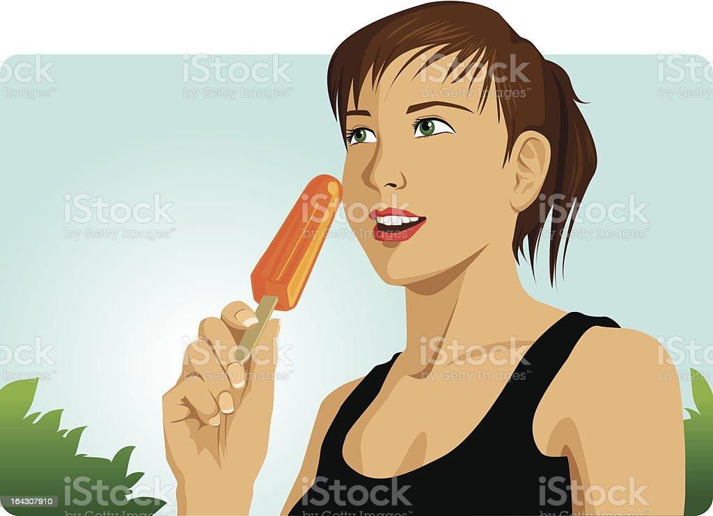 Летнее время-молодая женщина ест a popsicle Сток Вектор Стоковая фотография