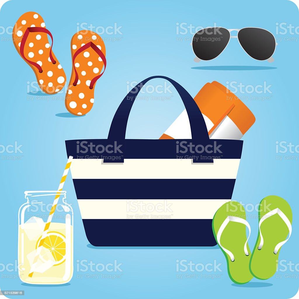 Summer Tote Beach Essentials vector art illustration