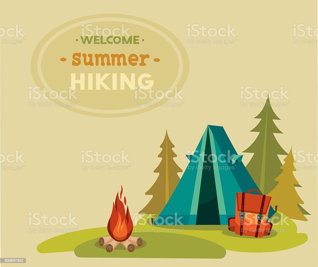 Summer tourist hiking - tent, backpack and campfire. vector art illustration