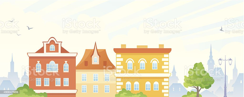 Summer town banner vector art illustration