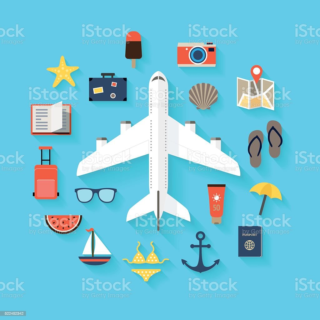 Summer Travel Background - Icons vector art illustration