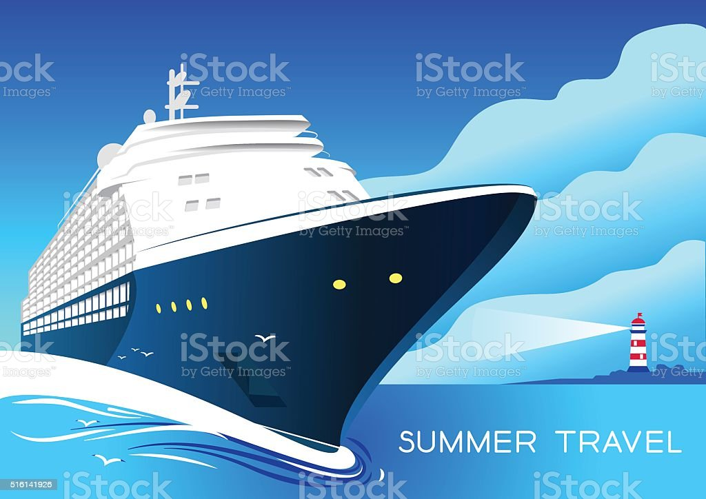 Summer travel cruise ship. Vintage art deco poster illustration. vector art illustration