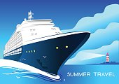 Summer travel cruise ship. Vintage art deco poster illustration.