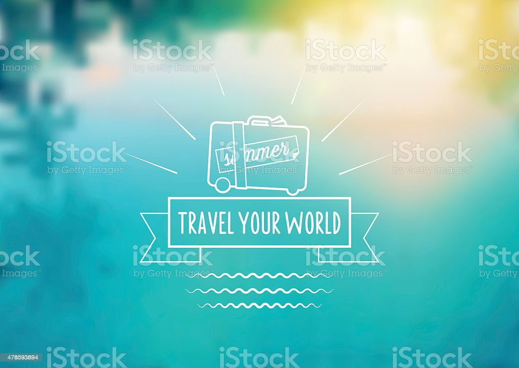 summer travel icon on blurred pool background vector art illustration