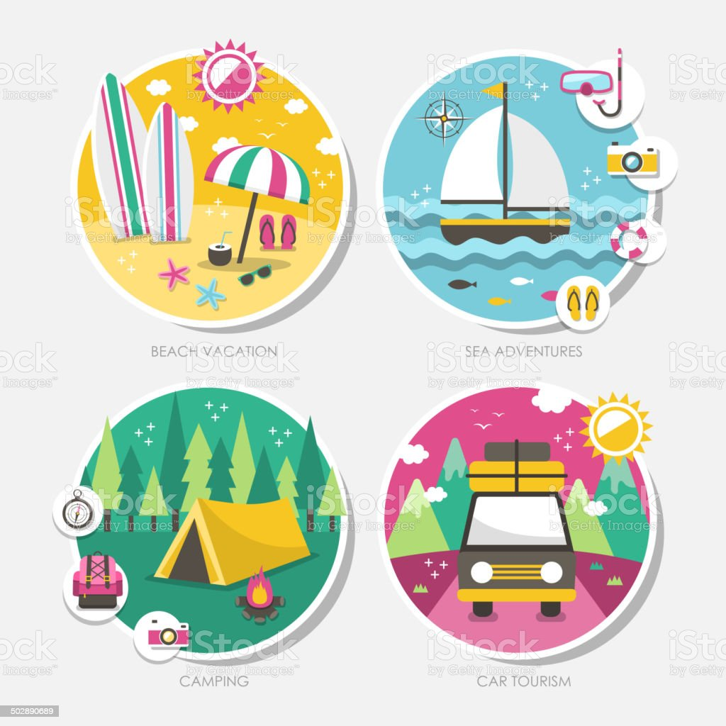 summer travel icons set in flat design vector art illustration