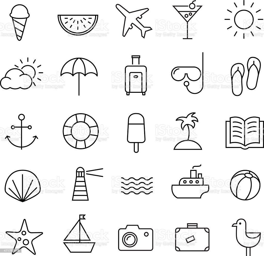 Summer Travel icons Thin Lines vector art illustration
