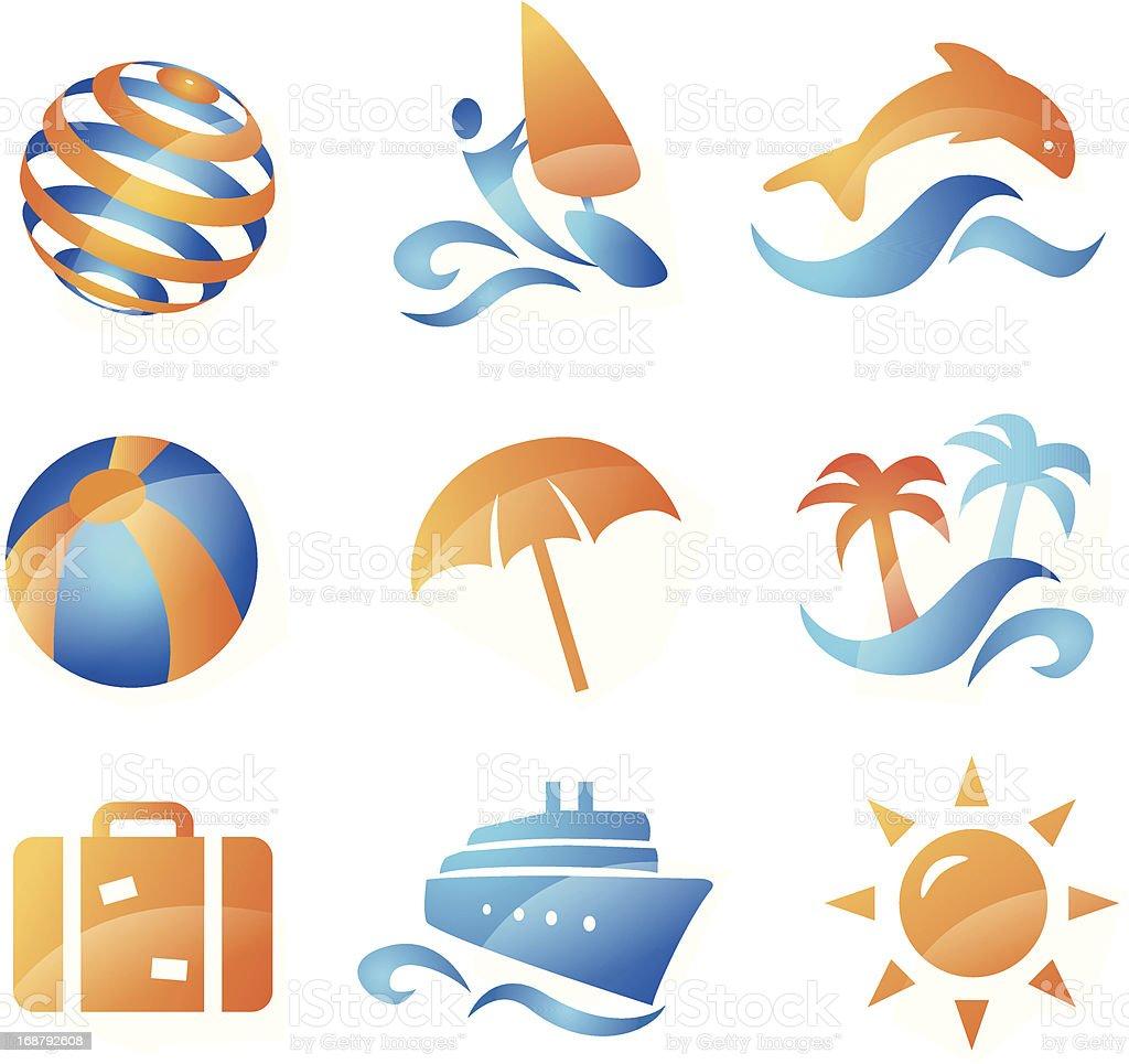 Summer Travel Icons vector art illustration