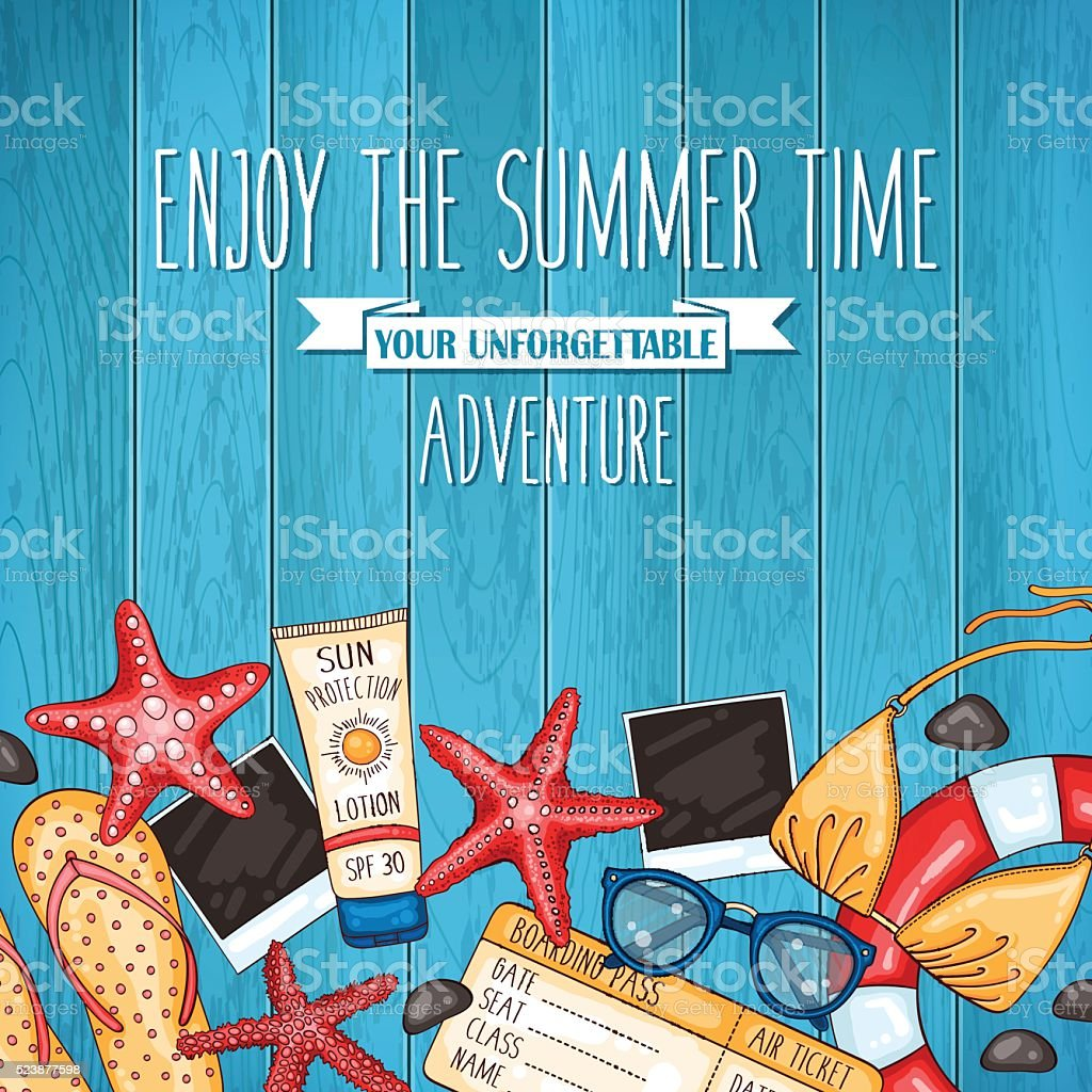 Summer travel wooden background with beach accessories vector art illustration