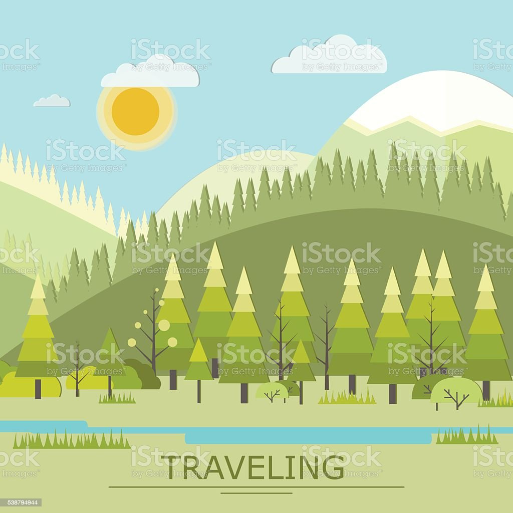 Summer Traveling, Landscape with Mountain Camping, Recreation vector art illustration