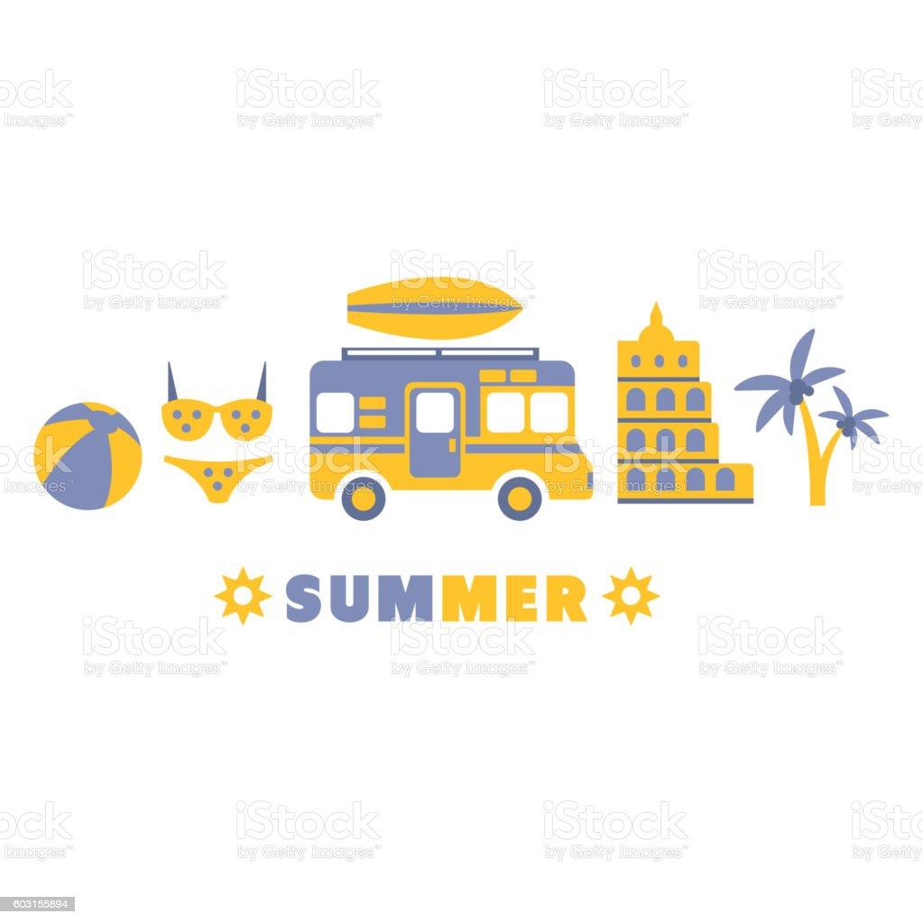 Summer Traveling Symbols Set By Five In Line vector art illustration