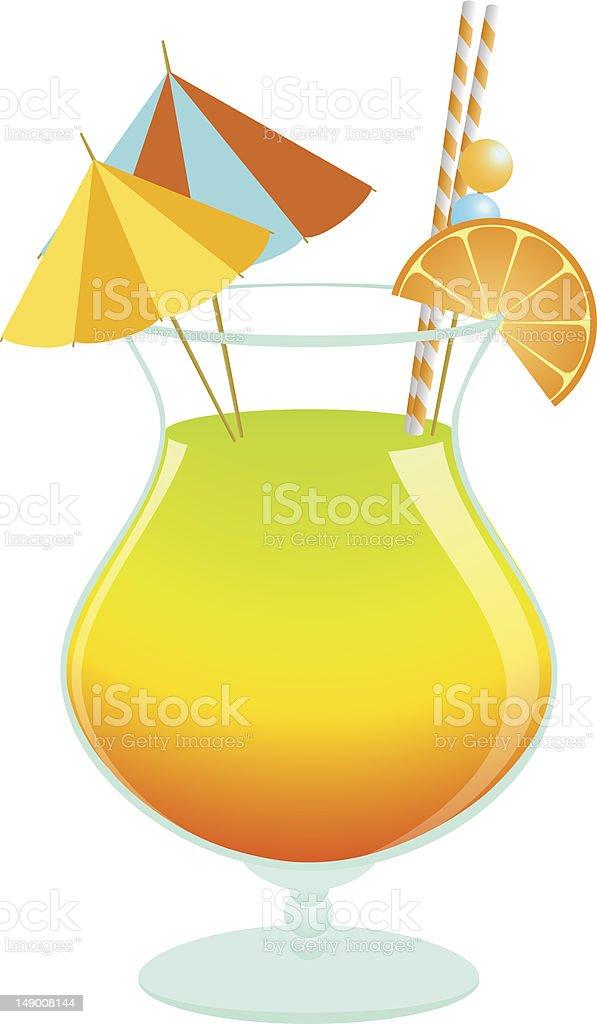 Summer tropical cocktail vector art illustration