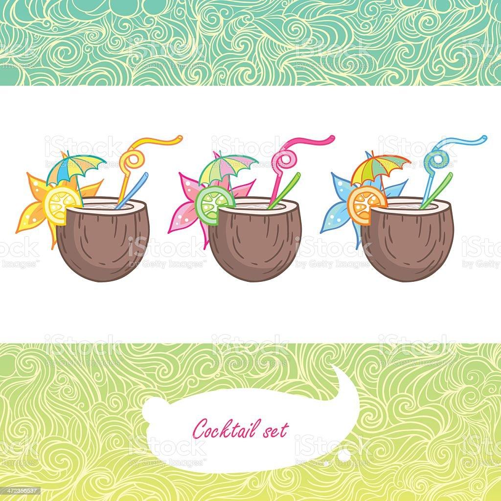 Summer tropical coconut cocktail vector art illustration