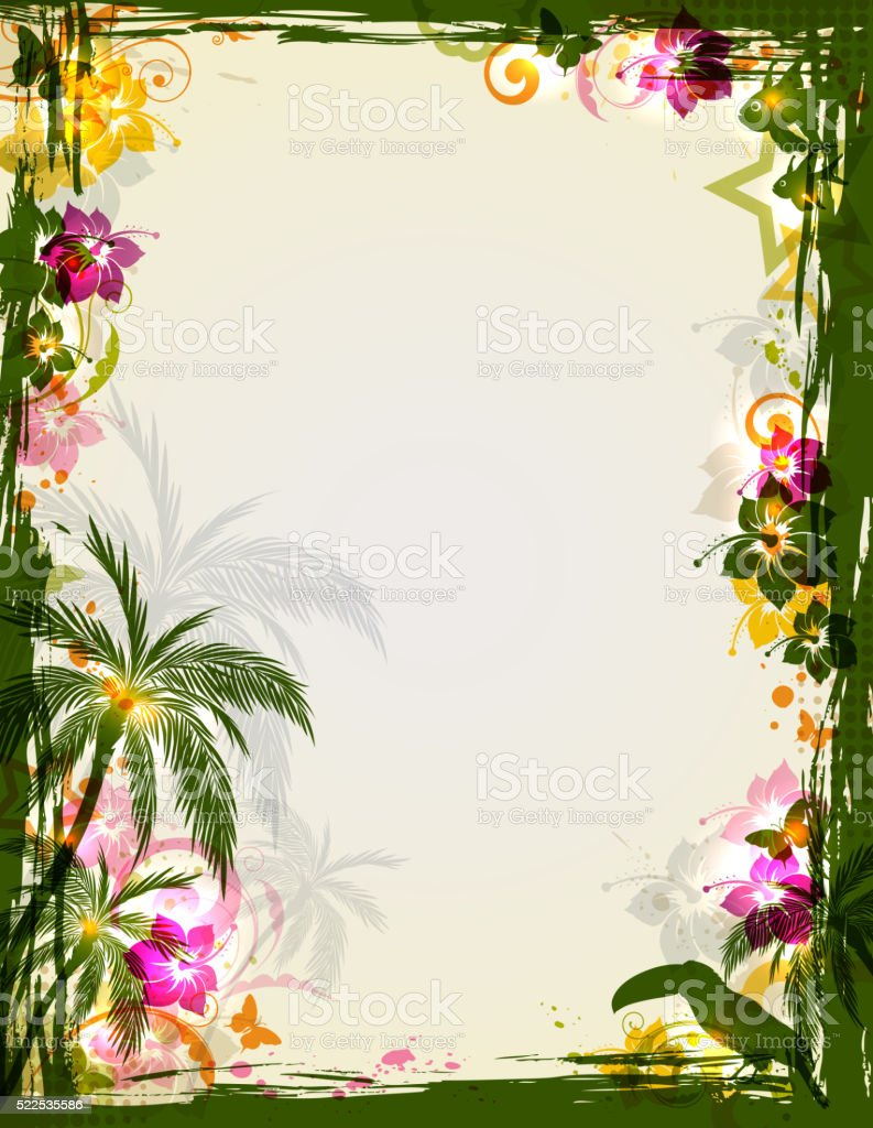 Vector bright tropical frame with palms and toucan. Summer floral...