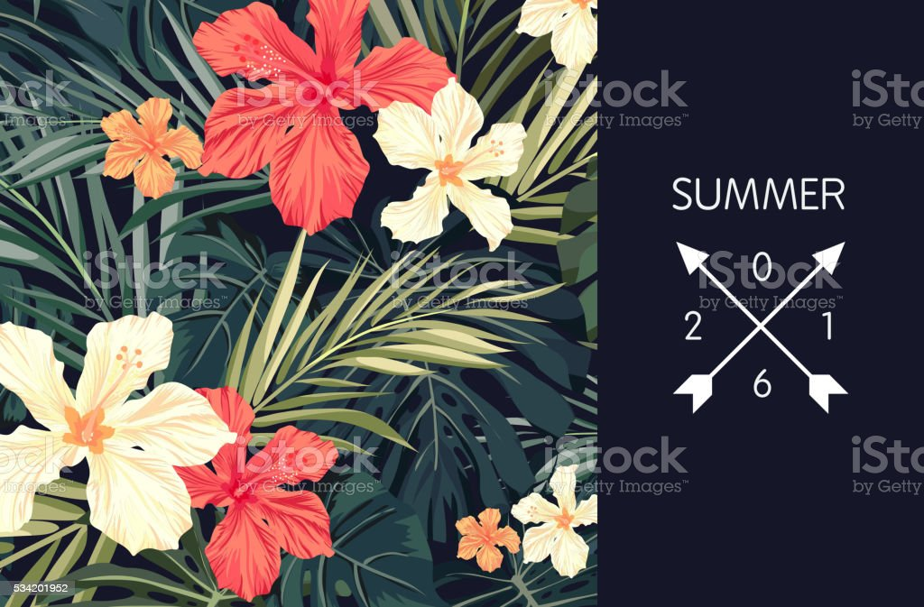Summer tropical hawaiian background with palm tree leaves and exotic vector art illustration