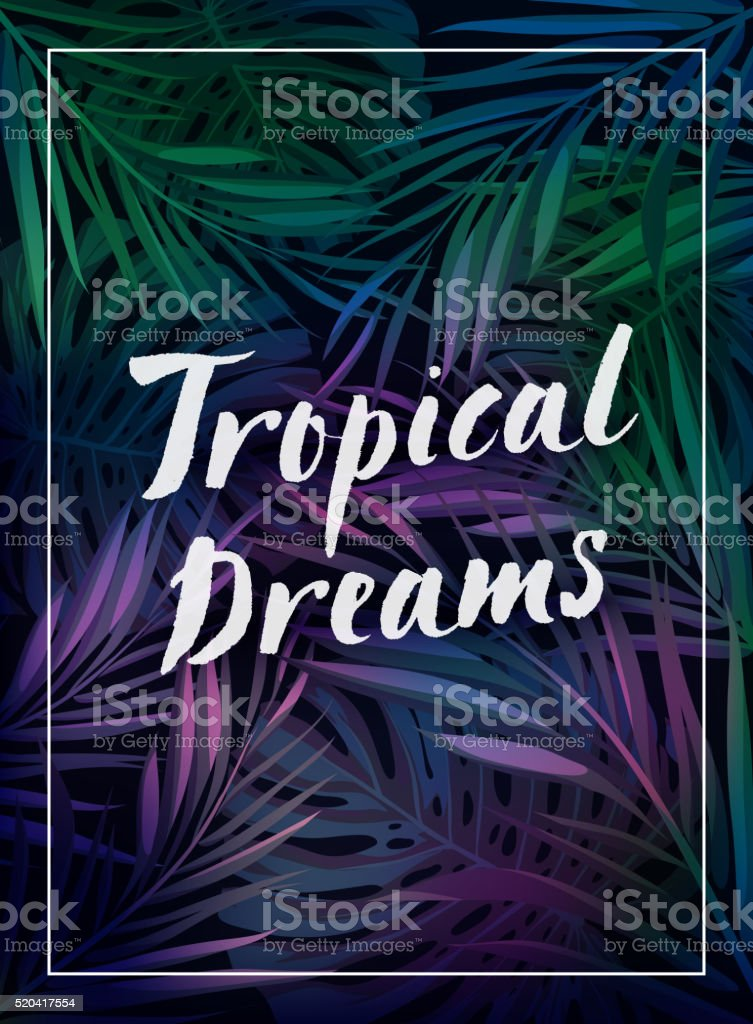 Summer tropical hawaiian background with palm tree leavs and exotic vector art illustration
